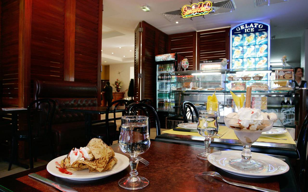 Proposal of dessert with ice cream and whipped cream and chocolate pancake, hotels in lourdes near grotto, Hotel Saint-Sauveur.
